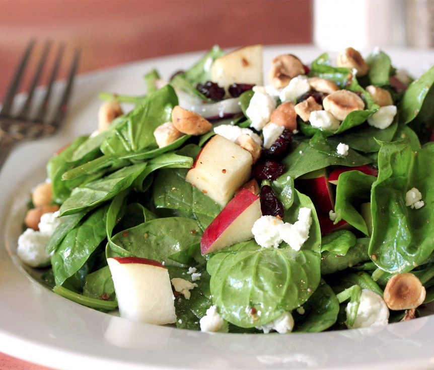 Spinach Salad with Bosc Pears, Cranberries, Red Onion, and Hazelnuts