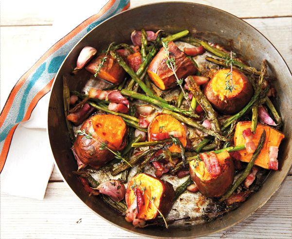 zoete aardappel met asperges